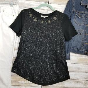 ANN TAYLOR LOFT S Women Blouse Top Black Sequins